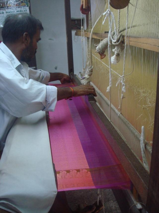 Hand weaving is real hard work